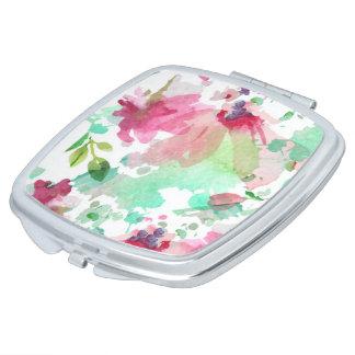 El maquillaje de Espejo Clásico Watercolor Floral Espejo Maquillaje