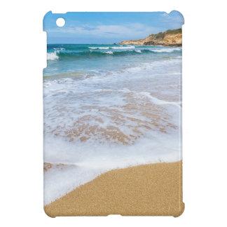 El mar de la playa de Sandy agita y montaña en la