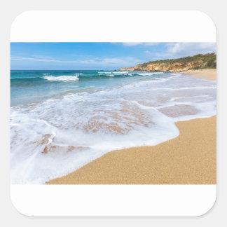 El mar de la playa de Sandy agita y montaña en la Pegatina Cuadrada