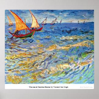 El mar en Saintes-Maries de Vincent van Gogh Póster