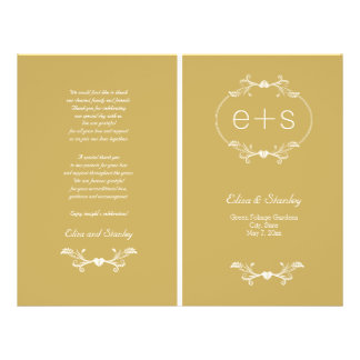 El marco blanco, iniciales dobló programa del boda folleto 21,6 x 28 cm