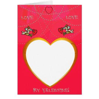 Tarjeta El marco del Cupid y del corazón añade su tarjeta