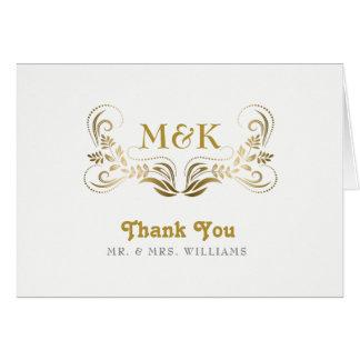 El marco elegante del remolino del oro le agradece tarjeta de felicitación