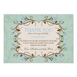 El marco floral en azul le agradece invitación 8,9 x 12,7 cm