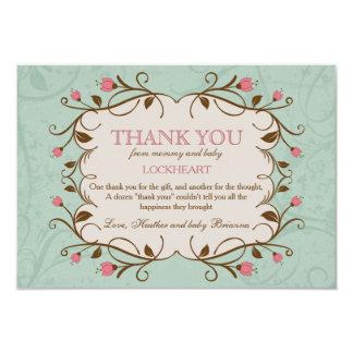 El marco floral en rosa le agradece invitación 8,9 x 12,7 cm