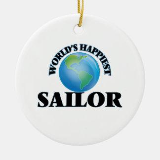 El marinero más feliz del mundo adorno redondo de cerámica