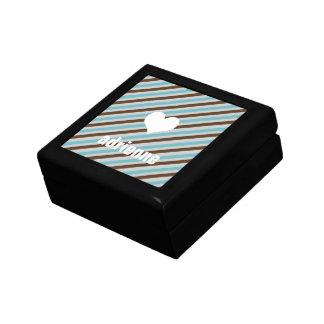 El marrón azul raya la caja elegante de la baratij joyero cuadrado pequeño