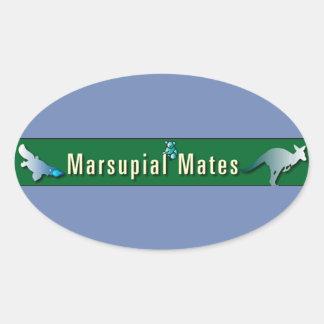 El marsupial acopla al pegatina oval
