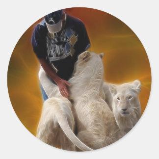 El más doméstico de león etiqueta redonda