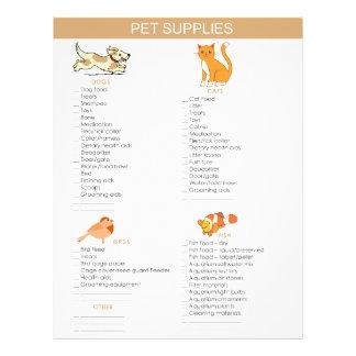El mascota suministra la lista de compras para los folleto 21,6 x 28 cm