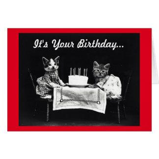 El maullido del gato del cumpleaños del vintage tarjeta de felicitación