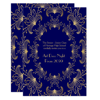 El mayor del baile de fin de curso, art déco, invitación 12,7 x 17,8 cm