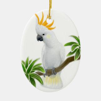 El mayor ornamento cítrico del Cockatoo Adorno Navideño Ovalado De Cerámica
