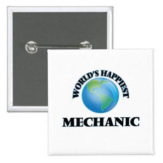 El mecánico más feliz del mundo chapa cuadrada 5 cm