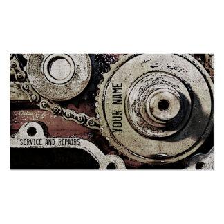 el mecánico repara la plantilla de la tarjeta de tarjetas de visita