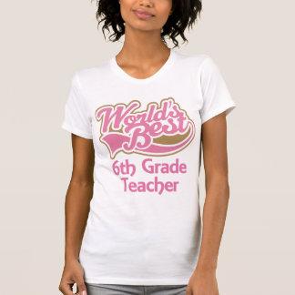 El mejor 6to profesor del grado de los mundos rosa camiseta