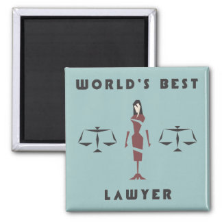 El mejor abogado del mundo femenino geométrico imán cuadrado