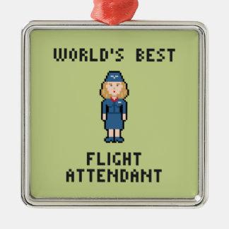 El mejor asistente del vuelo del mundo adorno navideño cuadrado de metal