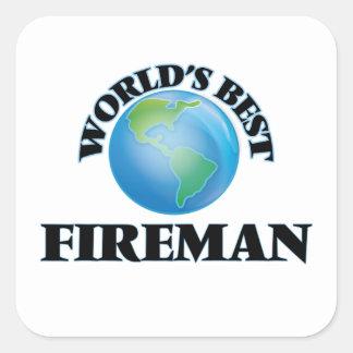 El mejor bombero del mundo colcomanias cuadradas