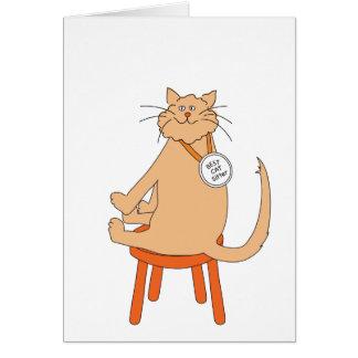 El mejor canguro del gato tarjeta de felicitación