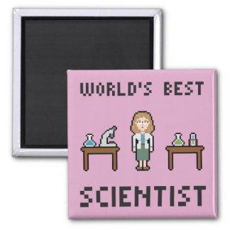 El mejor científico de sexo femenino imán cuadrado