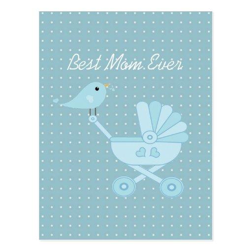 El mejor cochecito de niño siempre azul del bebé d tarjetas postales