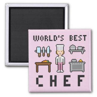 El mejor cocinero de sexo femenino del pixel imán cuadrado