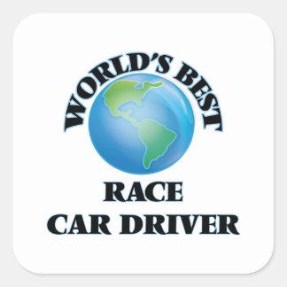 El mejor conductor del coche de carreras del mundo calcomanía cuadradas personalizada