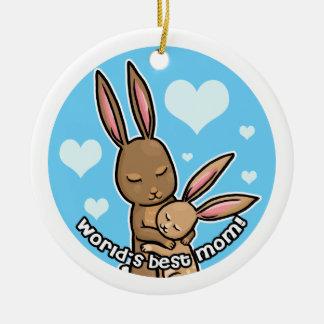 El mejor conejito de la mamá de los mundos adorno navideño redondo de cerámica