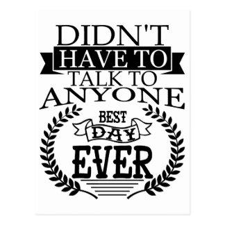 El mejor día Introverts nunca la postal
