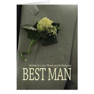 El mejor hombre del cuñado le agradece tarjeta de felicitación