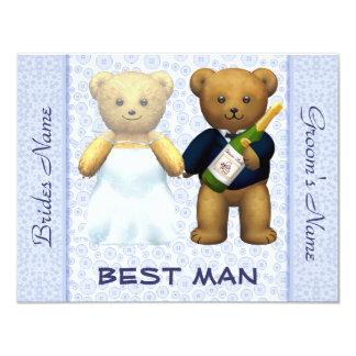 El mejor hombre - el boda azul de los osos de invitación 10,8 x 13,9 cm
