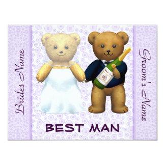 El mejor hombre - el boda de la lila de los osos invitación 10,8 x 13,9 cm