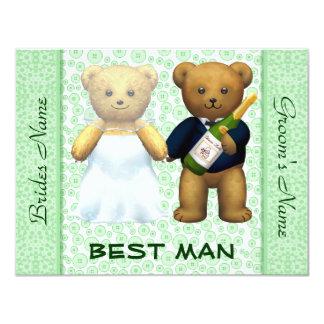 El mejor hombre - el boda verde de los osos de invitación 10,8 x 13,9 cm