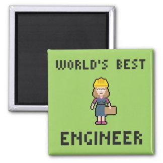 El mejor ingeniero de sexo femenino imán cuadrado