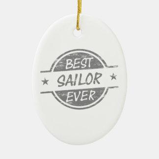 El mejor marinero siempre gris adorno ovalado de cerámica