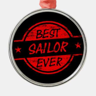 El mejor marinero siempre rojo adorno redondo plateado