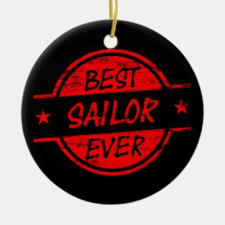 El mejor marinero siempre rojo adorno redondo de cerámica