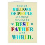 El mejor padre en la tarjeta de felicitación del m