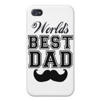 El mejor papá del mundo con el bigote iPhone 4 fundas