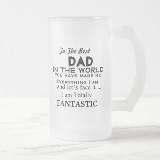El mejor papá en el REGALO DIVERTIDO del PADRE del Taza De Cristal Esmerilado