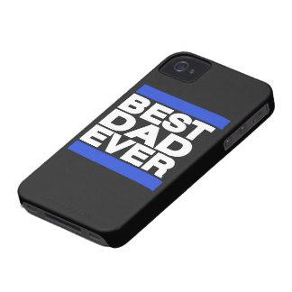 El mejor papá siempre azul iPhone 4 Case-Mate cárcasas