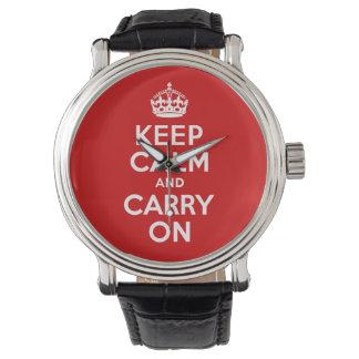 El mejor precio guarda calma y continúa rojo relojes de mano