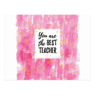 El mejor profesor - acuarela amarilla rosada de la postal