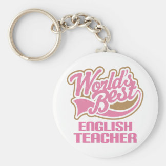 El mejor profesor de inglés de los mundos rosados  llavero redondo tipo chapa