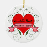 El mejor profesor preescolar del mundo ornaments para arbol de navidad