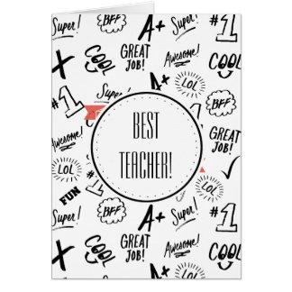 El mejor profesor tarjeta de felicitación