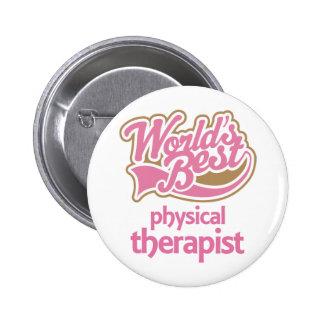 El mejor terapeuta físico de los mundos rosados li chapa redonda de 5 cm