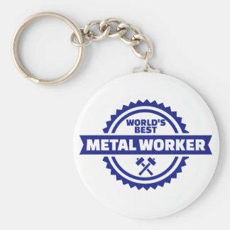 El mejor trabajador del metal del mundo llavero redondo tipo chapa