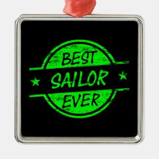 El mejor verde del marinero nunca adorno cuadrado plateado
